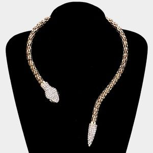 Jewelry - Gold Cz Diamond-cut Snake Collar Necklace